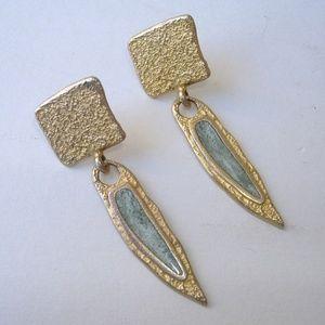 Jewelry - Gold Blue Gemstone Earrings Textured Metal Pierced